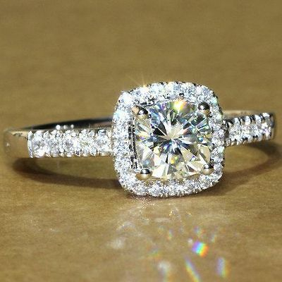 2.45 Ct Round Cut Halo Style Engagement Solitaire Ring 14K Real White Gold