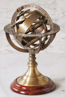 "Brass Antique Finish Nautical Home Decor Armillary Zodiac Sphere Globe 9"" - Gift"