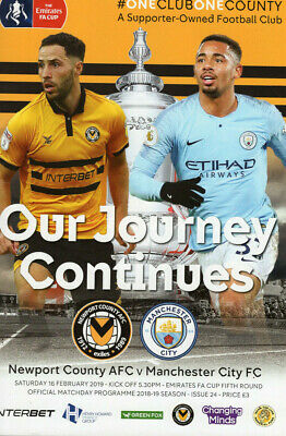 Newport County AFC v Man City FC Programme (Season 2018-2019)