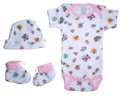 2274f5331 3 Piece Baby Infant Girls Pink Boxed Gift Set Booties Cap Jump Suit 0 - 6