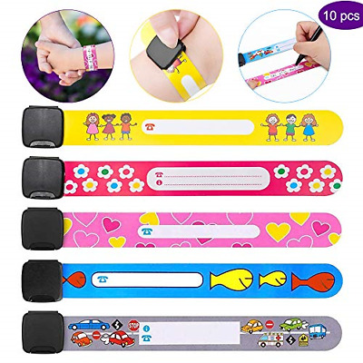 Safety Wristband for Child Safety ID Wristband, 10 Pcs Kids ID Bracelet and SOS
