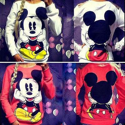 Women's Sweatshirts Pullover Jumper Long Sleeve Tops Casual Mickey Mouse Print