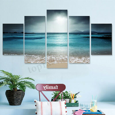 5Pcs Sunset Seaside Canvas Print Art Painting Home Decor Wall Picture Framed 1