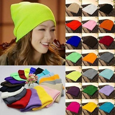 Men's Women Knit Ski Cap Hip-Hop Blank Color Winter Warm Unisex Hat