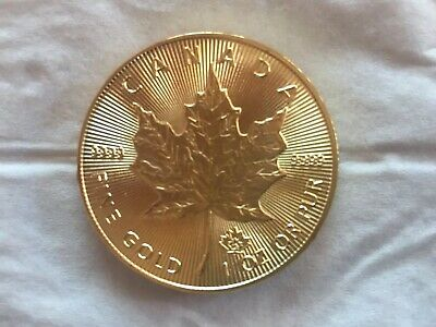 "Goldmünze Münze Medaille ""1oz Fine Gold Maple Leaf 50 Dollar 2015"""