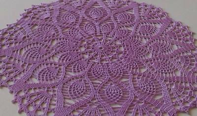 New Purple  Flower Vintage Hand Crochet Doily Lace Center Collectible 33 Cm.