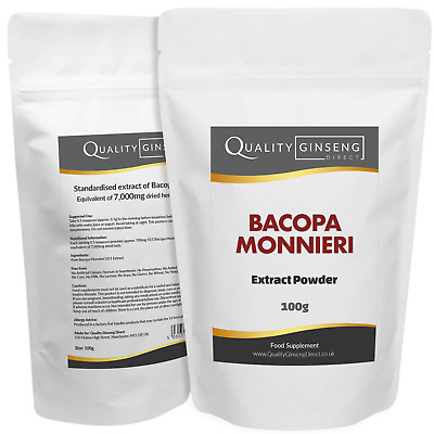 BACOPA MONNIERI - 10:1 Extract Powder - Strength & Quality - Choose Pack Size
