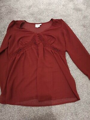 ASOS Sheer Berry Red Maternity Top Size 12