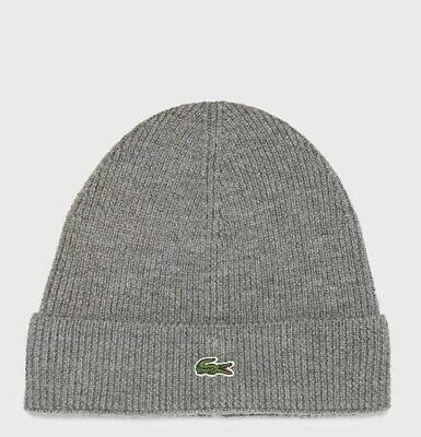 f0fae8811 LACOSTE TURN UP Wool Ribbed Beanie Hat in Light Grey Silver - £35.00 ...