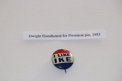 Classic 1950s Dwight Eisenhower I LIKE IKE Campaign Slogan Button (5344)