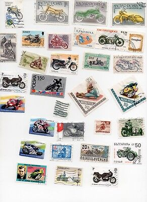 MOTOR CYCLES on Stamps 30 All Different and Off Paper