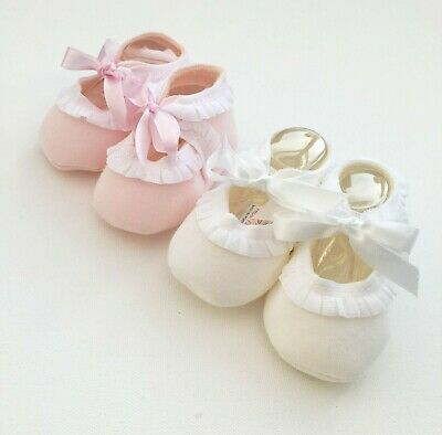 Baby Girl Pex Cotton Blend Booties Soft Shoes Ribbon Tie Frilly Pink White 0-3M