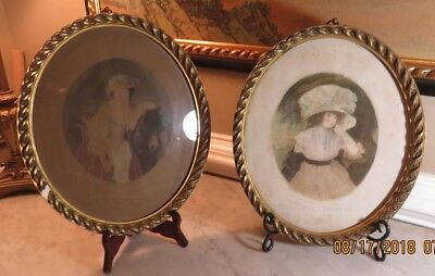 Antique German Oval Metal Filigree Ornate Victorian Picture Frame Matching Pair