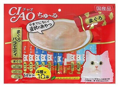 [INABA] CIAO Churu Cat Food Lick Snacks Fillet Variety 4 Flavor Mix 14g X 40pcs