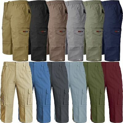 Mens Elasticated Waist Cotton Cargo Combat 3/4 Long Length Branded Shorts New