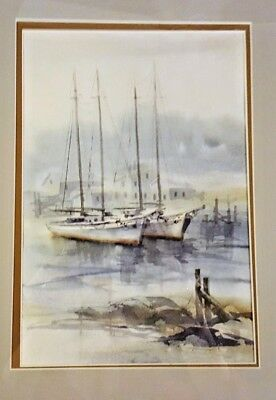 Sailboats at Anchor Carol  Sebold 1939 - 2010 - Original Watercolor