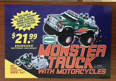 "Hess 2007 Monster Truck with Motorcycles Sign 19.5"" by 13.5"""