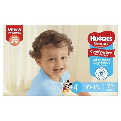 Huggies Ultra Dry Nappy For Boys 10-15 Kg Size 4 72 pack