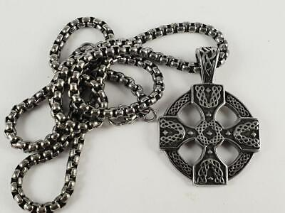Stainless Steel Celtic Cross biker pendant and necklace 60cm chain Norse viking