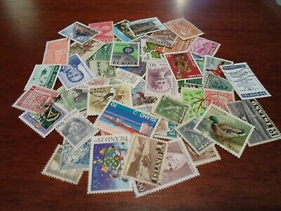 Collection lot 50 different stamps of Iceland