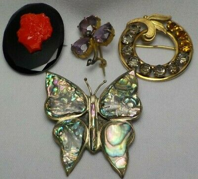 Vintage Mixed Lot Of 4 Brooch Pins Cameo Style Abalone Shell Rhinestone