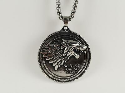 Stainless Steel Game of Thrones biker pendant and necklace 60cm chain Stark GOT
