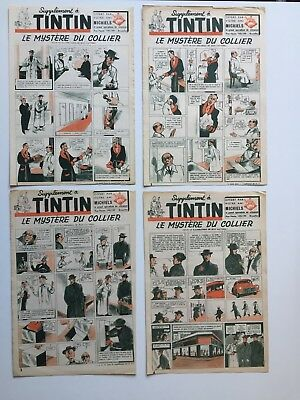 Journal Tintin Herge Le Mystere Du Collier Lot 4 Supplement / Complet 1947 Bd Eo