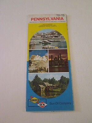 Vintage 1972 Sunoco DX Pennsylvania - Oil Gas Service Station Travel Road Map