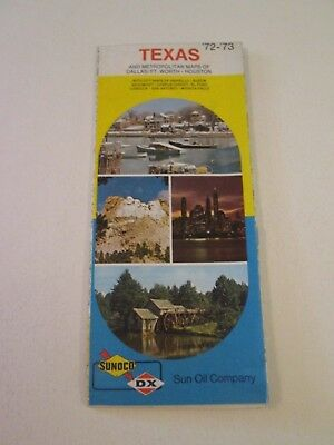 Vintage 1972 Sunoco DX Texas - Oil Gas Service Station Travel Road Map