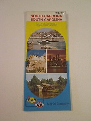 Vintage 1972 Sunoco DX NC, SC - Oil Gas Service Station Travel Road Map