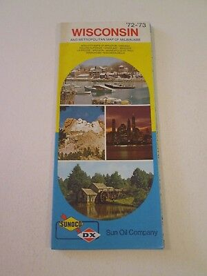 Vintage 1972 Sunoco DX Wisconsin - Oil Gas Service Station Travel Road Map