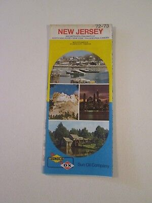 Vintage 1972 Sunoco DX New Jersey - Oil Gas Service Station Travel Road Map