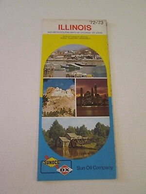 Vintage 1972 Sunoco DX Illinois - Oil Gas Service Station Travel Road Map