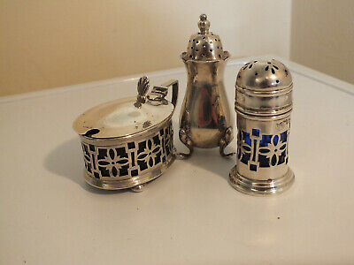 Group of Antique Solid Silver Condiments - Pierced with Blue Glass Liners
