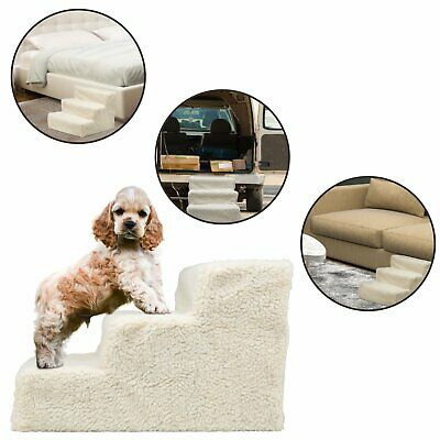 Soft Portable Cat Dog 3 Steps Ramp Small Climb Pet Step Stairs White/Beige