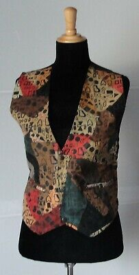 Vintage Suede Leather Patchwork Waistcoat •● Size: 38