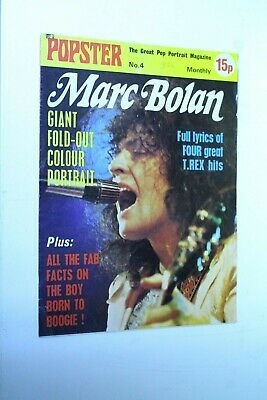MARC BOLAN Poster in #4 POPSTER GIANT POSTER MAGAZINE 1974  T. REX NEAR MINT