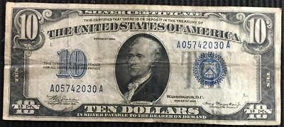Series 1934  $10 Ten Dollar Silver Certificate Blue Seal Circulated