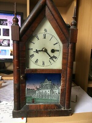 Antique Jerome &co American Wall Clock Spares Or Repair With Key And Pendulum