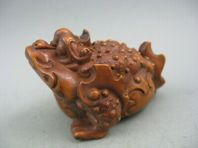 Collectible Old Boxwood Hand Carved Frog Antique Netsuke Statue