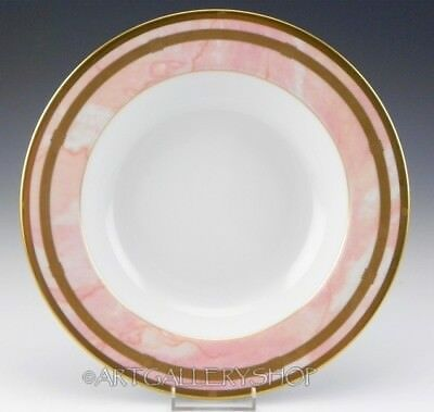 Christian Dior GAUDRON MARBRE ROSE PINK & GOLD RIMMED SOUP PLATE BOWL