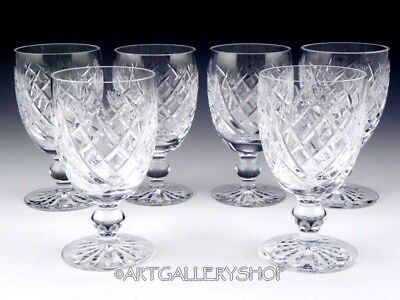 """Waterford Ireland Cut Crystal DONEGAL 4-3/4"""" CLARET WINE GOBLETS GLASSES Set 6PC"""