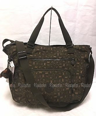 Kipling TM5439 NOELLE Large Tote Gym Travel Bag 2-Way BROWN MONKEY MANIA NWT