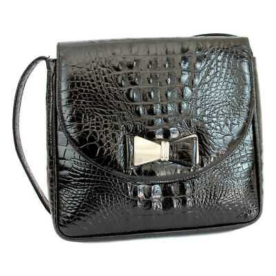 Gianni Versace Couture Shoulder Bag Leather Crocodile Print Vintage Black a14cb19a8da1a