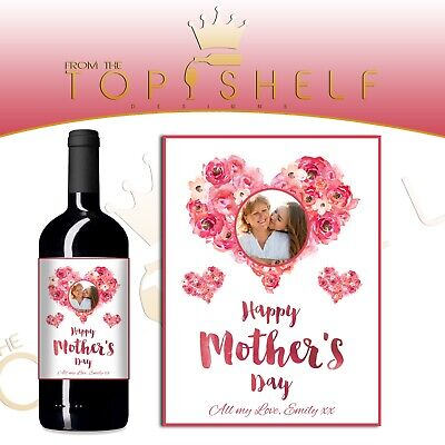 Personalised Mothers Day Wine bottle photo label gift