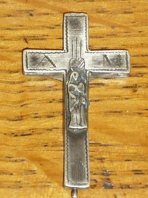 "18th Century Silver Cross Antique Reliquary. Inscribed ""A M"". French Nice Rare!"