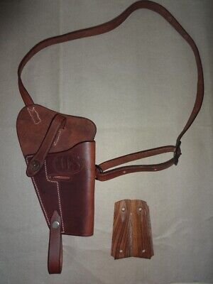 U.S. WWII M3 Brown Leather Shoulder Holster w/Hand Grips - Mid Brown - Repro ie4