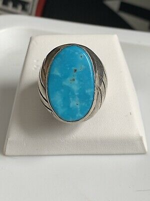 33.4g Native American Sterling Silver 26x16mm Turquoise Ring - Size 13.5
