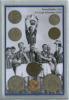 Manchester City Man Vintage FA Cup Final Winners Retro Coin Fan Gift Set 1956