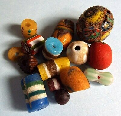 Ancient Roman Viking Egyptian Medieval Phoenician glass beads collection lot 7
